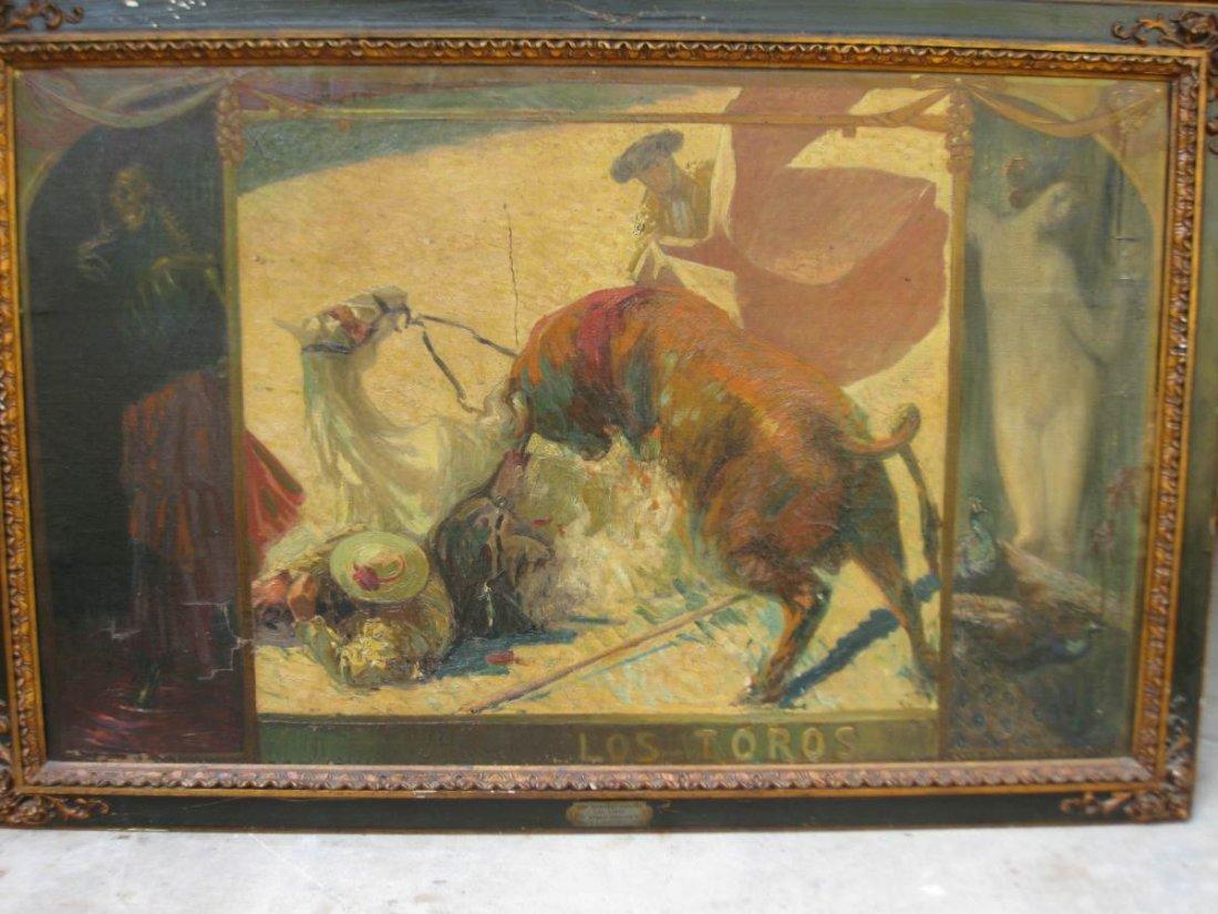 Los Toros Oil on Canvas CA 1913 Luis Huidobro Zaplana