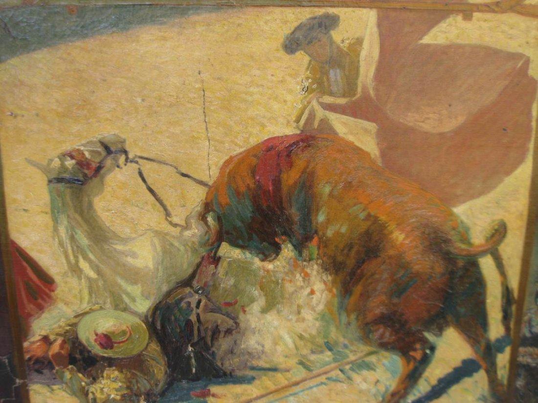 Los Toros Oil on Canvas CA 1913 Luis Huidobro Zaplana - 3