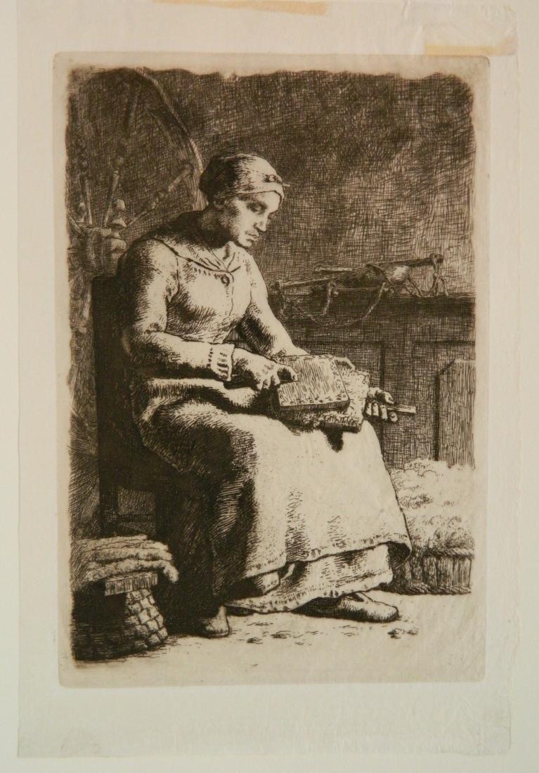 Jean Francois Millet etching - 2