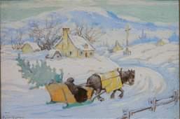 Paul Caron watercolor or gouache