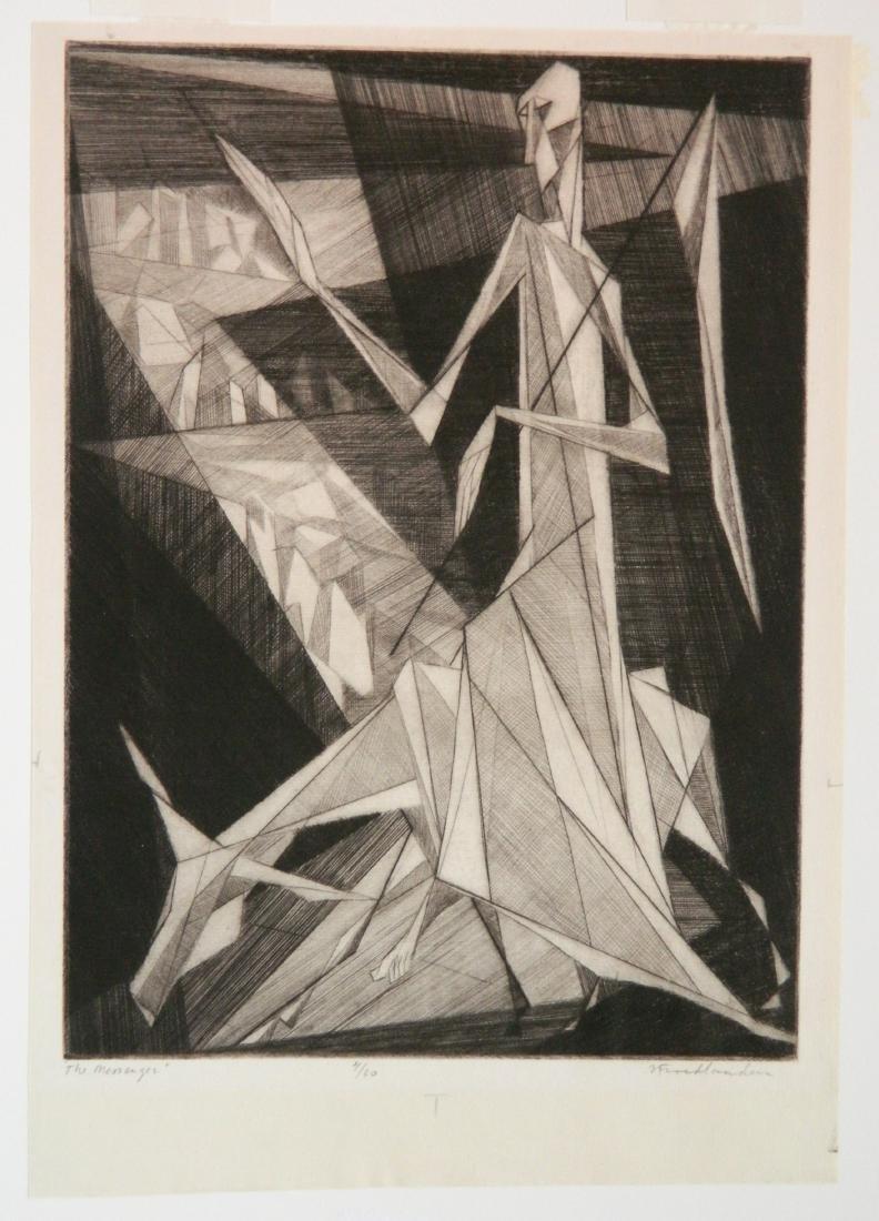 Isaac Friedlander etching - 2