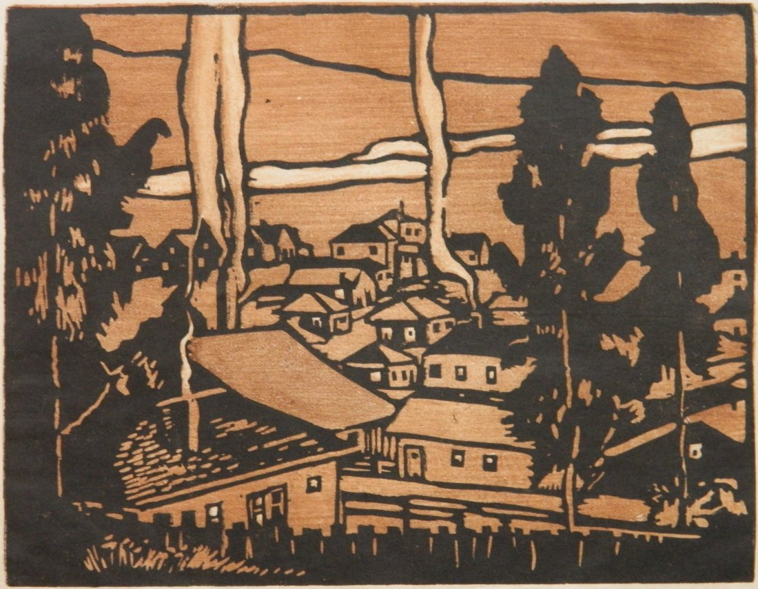 William S. Rice woodcut