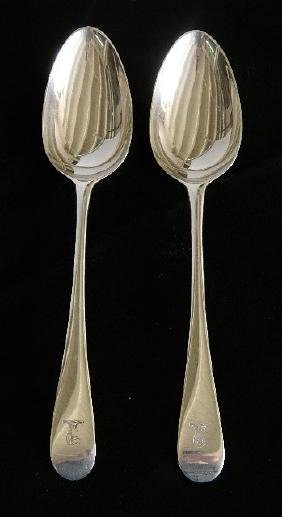 English George IV sterling silver stuffing spoons