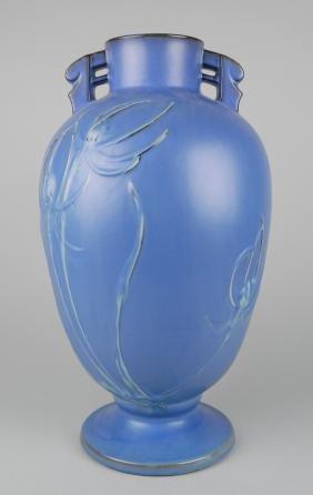 Roseville Pottery Teasel Blue vase