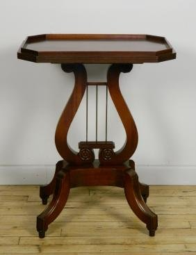 Mahogany harp lyre base accent table