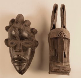 2 African carved wood mask