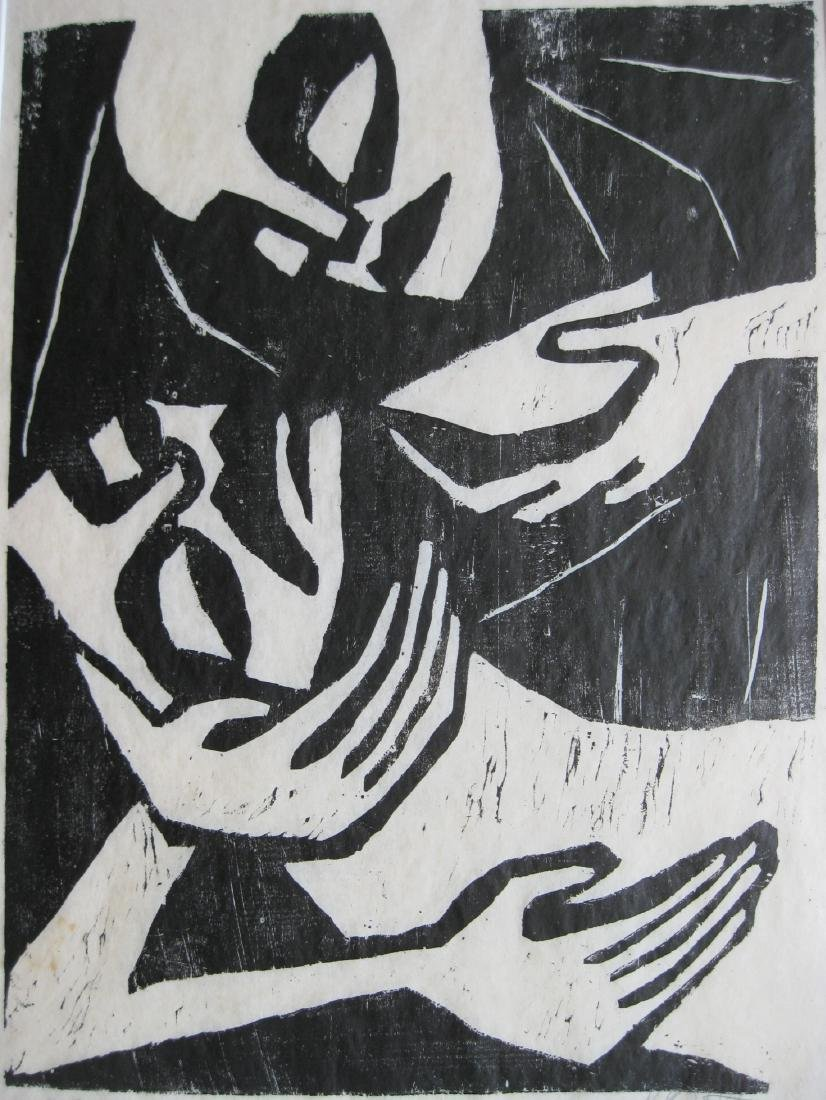20th c. German School woodcut