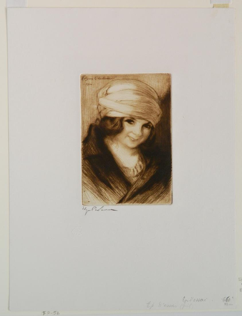 Edgar Chahine etching - 2