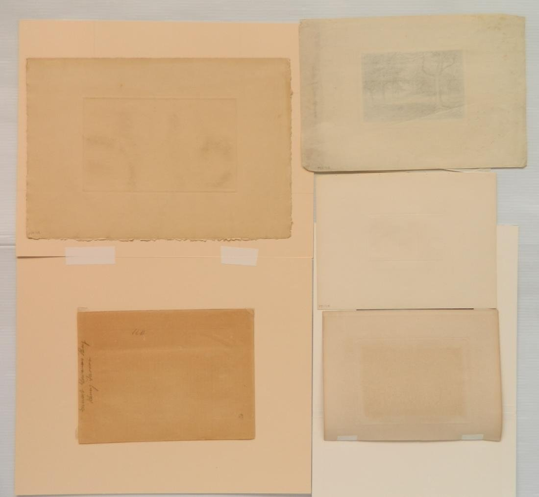 4 American and 1 French etchings - 2