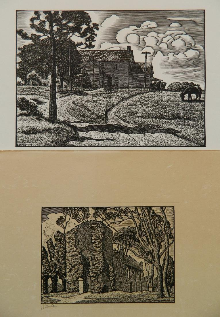 Julius J. Lankes 2 wood engravings
