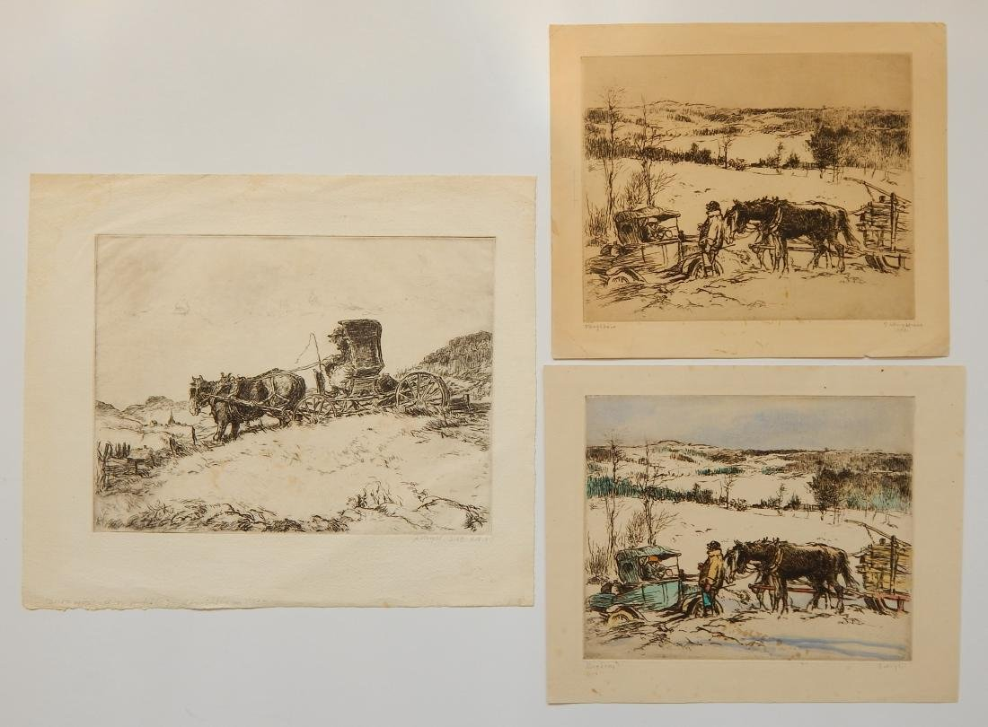 George Wright 3 etchings