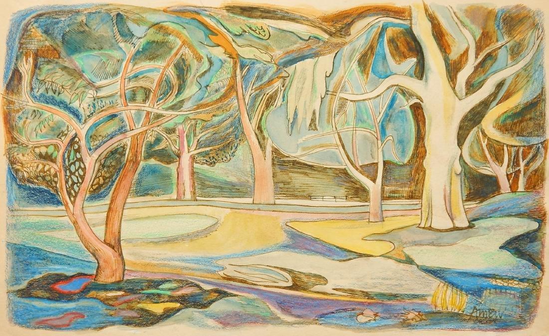 Irving Amen watercolor and crayon