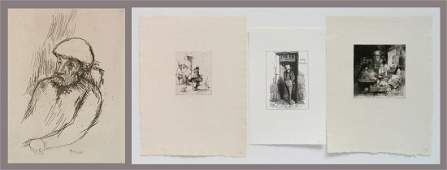 P. Bonnard etching and 3 prints by Louvre