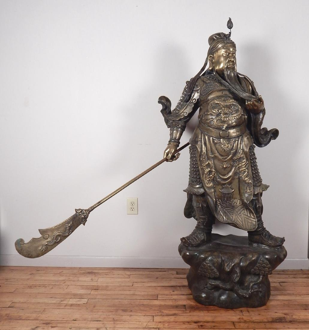 20th c. Chinese brass statue of a warrior
