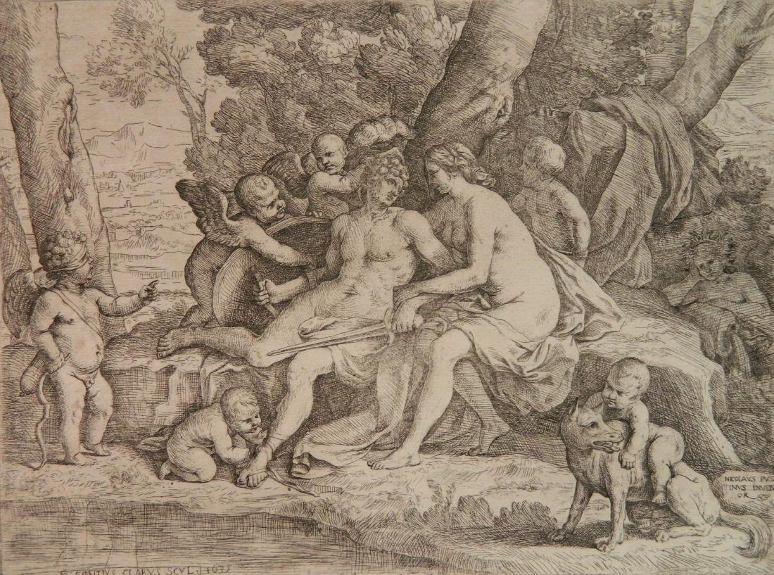 Fabrizio Chiari etching (after N. Poussin)
