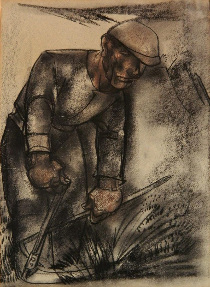 Willem Van Den Berg pastel and charcoal