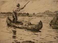 Frank W Benson etching