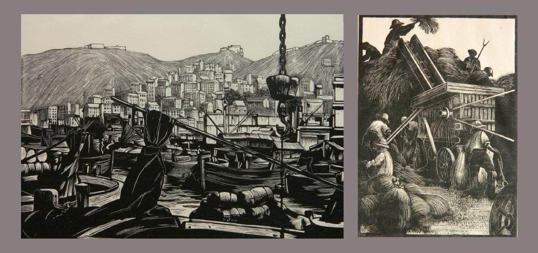 Clare Leighton 2 wood engravings