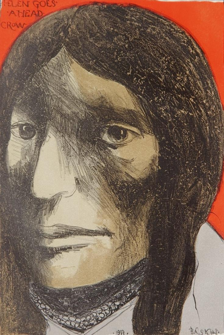 Leonard Baskin lithograph in color