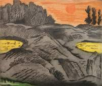Karl Schrag etching in color