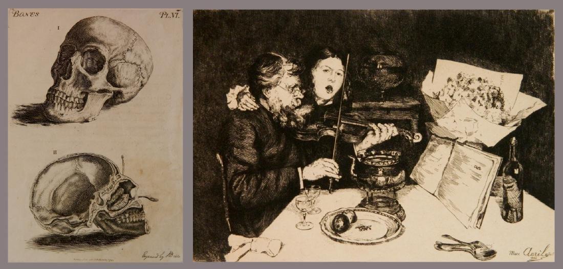 Marc Aurele etching; John Bell engraving