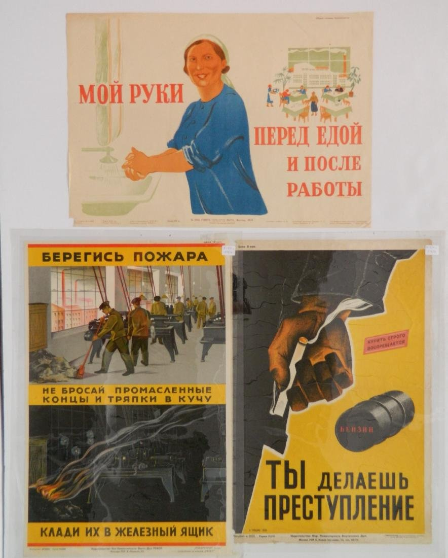 3 Early Soviet workplace safety posters