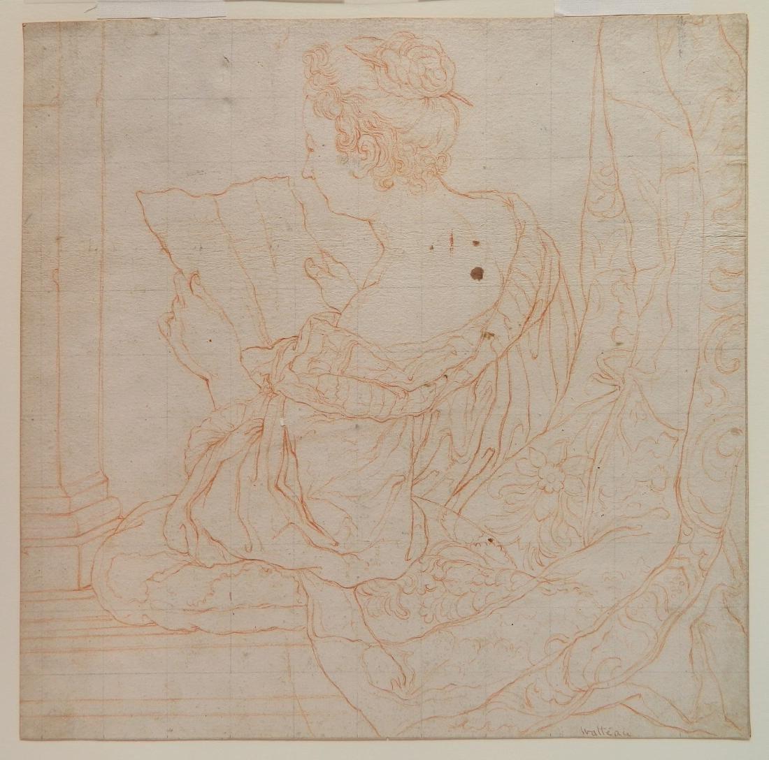 style of Watteau conte crayon - 2