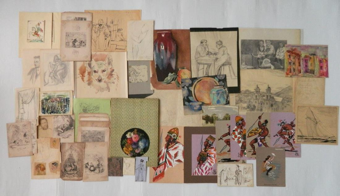 Large lot of works on paper