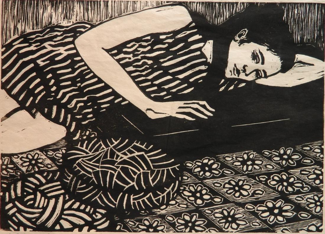 Phyllis Sloane linocut