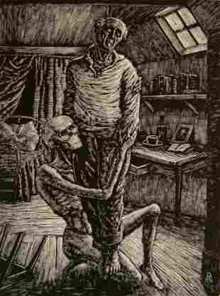 Albert Abramovitz woodcut