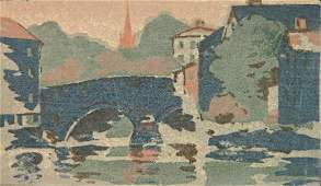 Arthur Dow woodcut in color