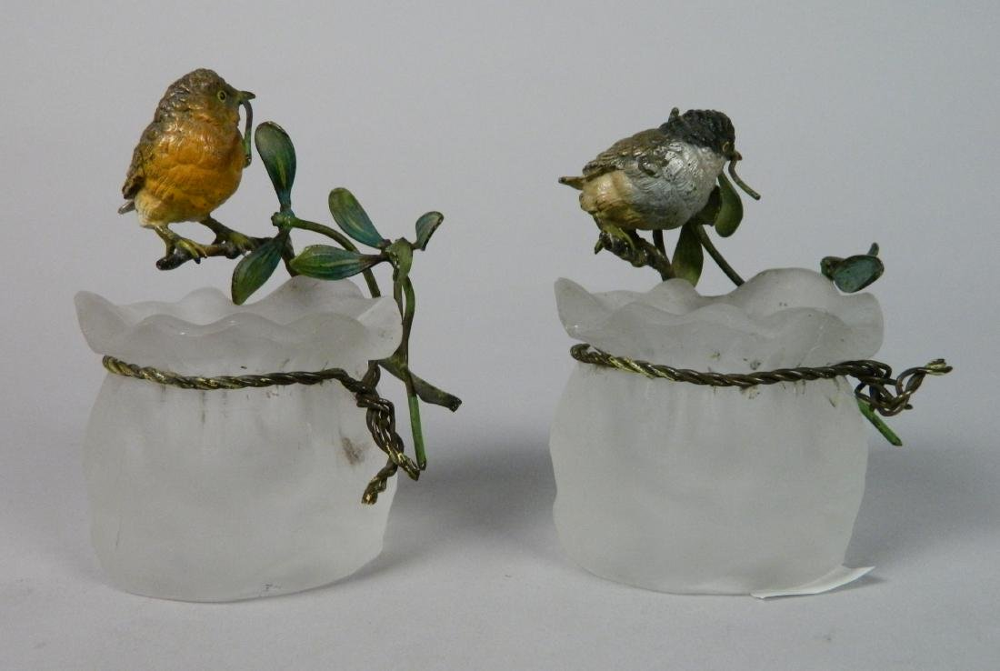 Pair of frosted glass vases