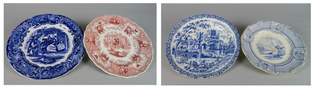 4 British Transfer china plates