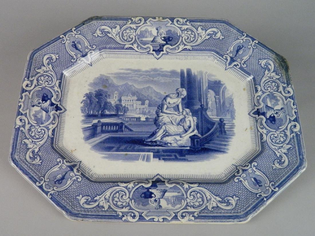 Davenport Brothers blue and white platter