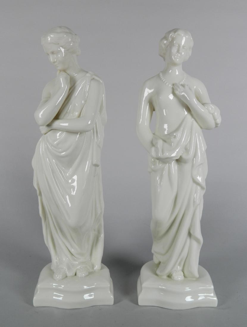 Belleek glazed porcelain statues