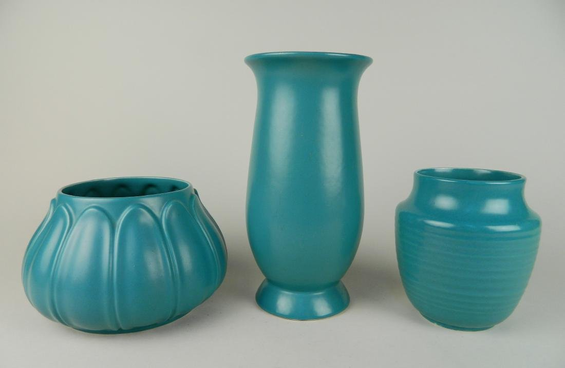 3 Cowan Pottery Lakeware vases