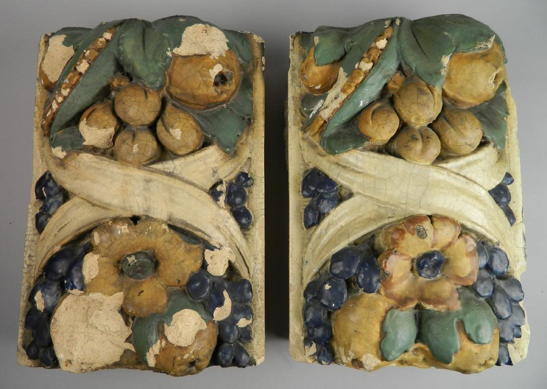 Pair of cast concrete architectural ornaments