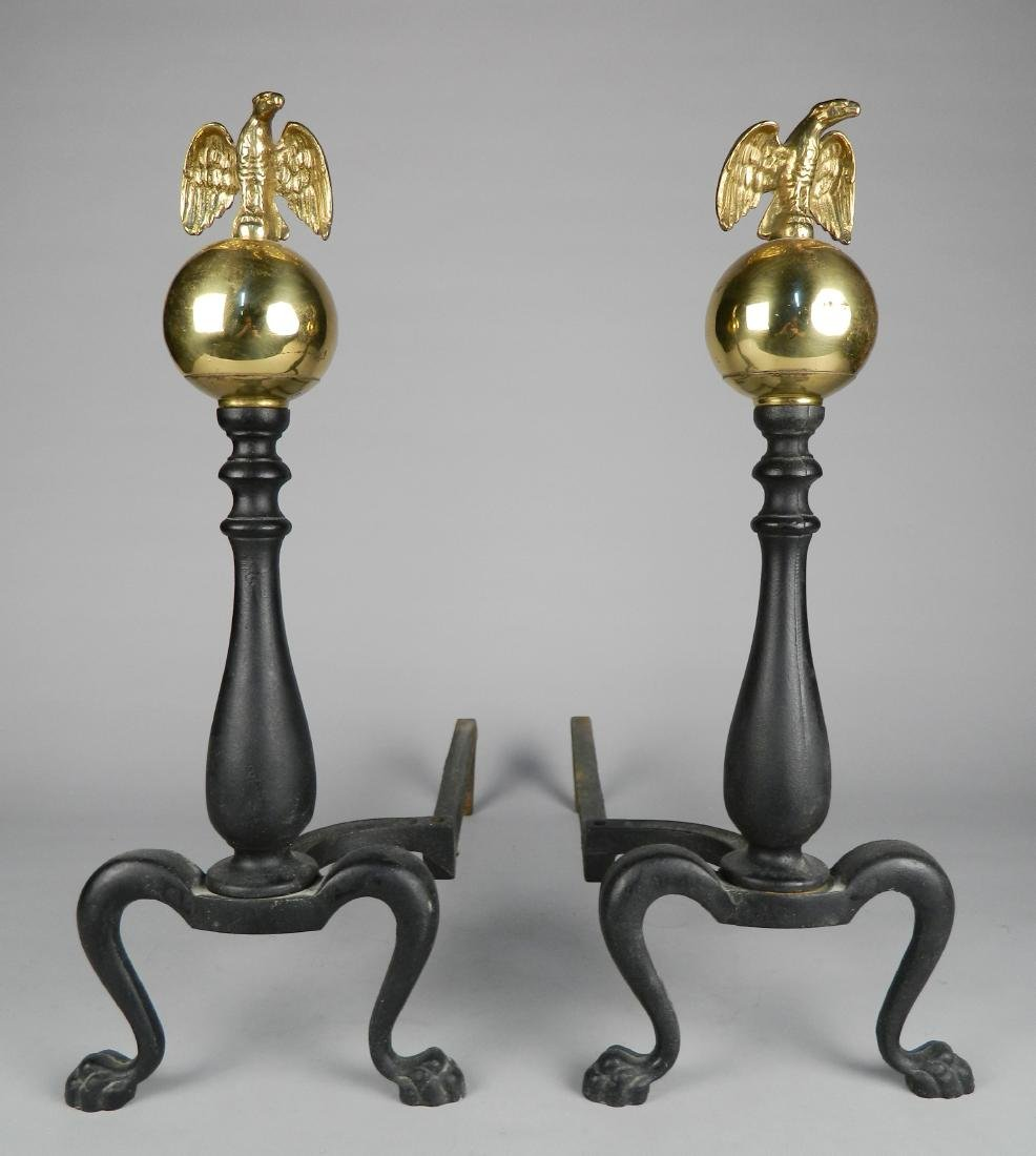 Pair of Federal style cast iron andirons