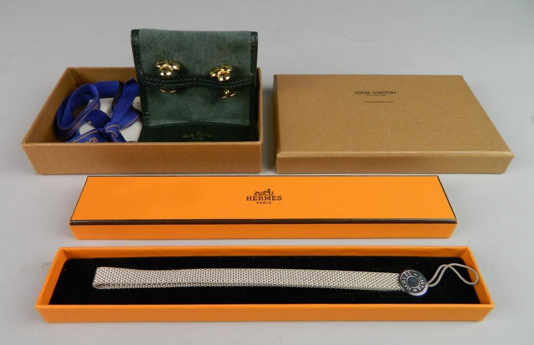 Hermes wallet strap and L. Vuitton cufflinks