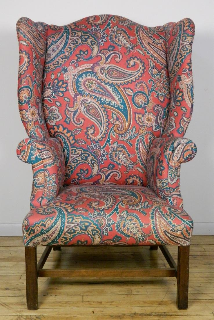 Upholstered high back wing chair