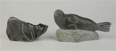 2 Inuit carved stone sculptures