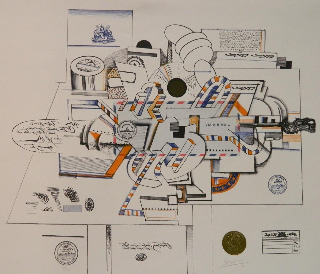Saul Steinberg lithograph in color