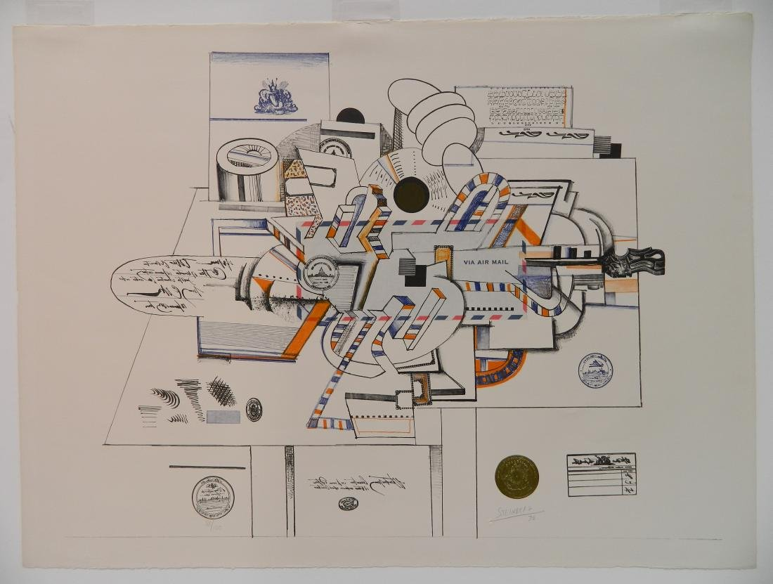 Saul Steinberg lithograph in color - 2