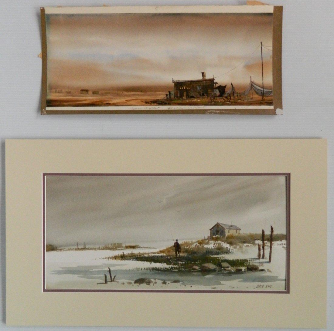 Fred Leach 2 watercolors - 2