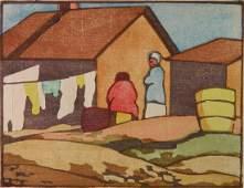 Jesse Jo Eckford woodcut in colors