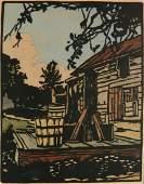William Rice woodcut in color