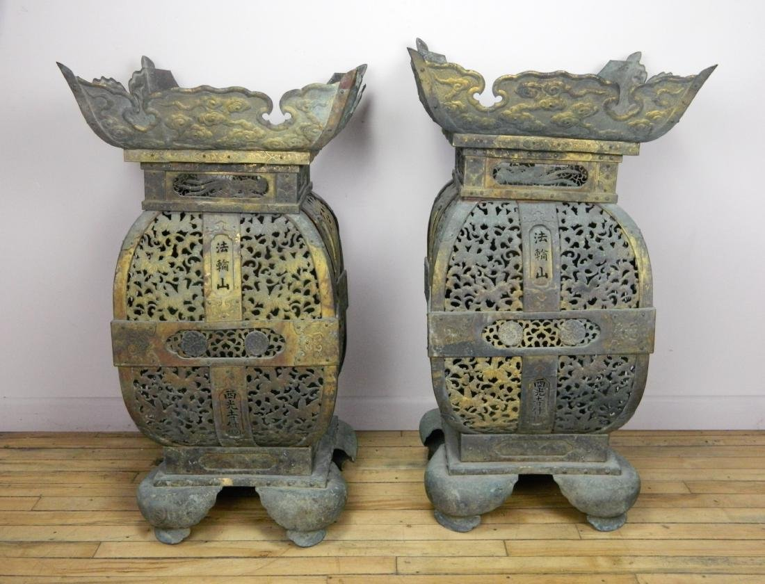 Pair of 19th c. Japanese bronze temple urns
