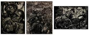 3 Albert Abramovitz woodcuts