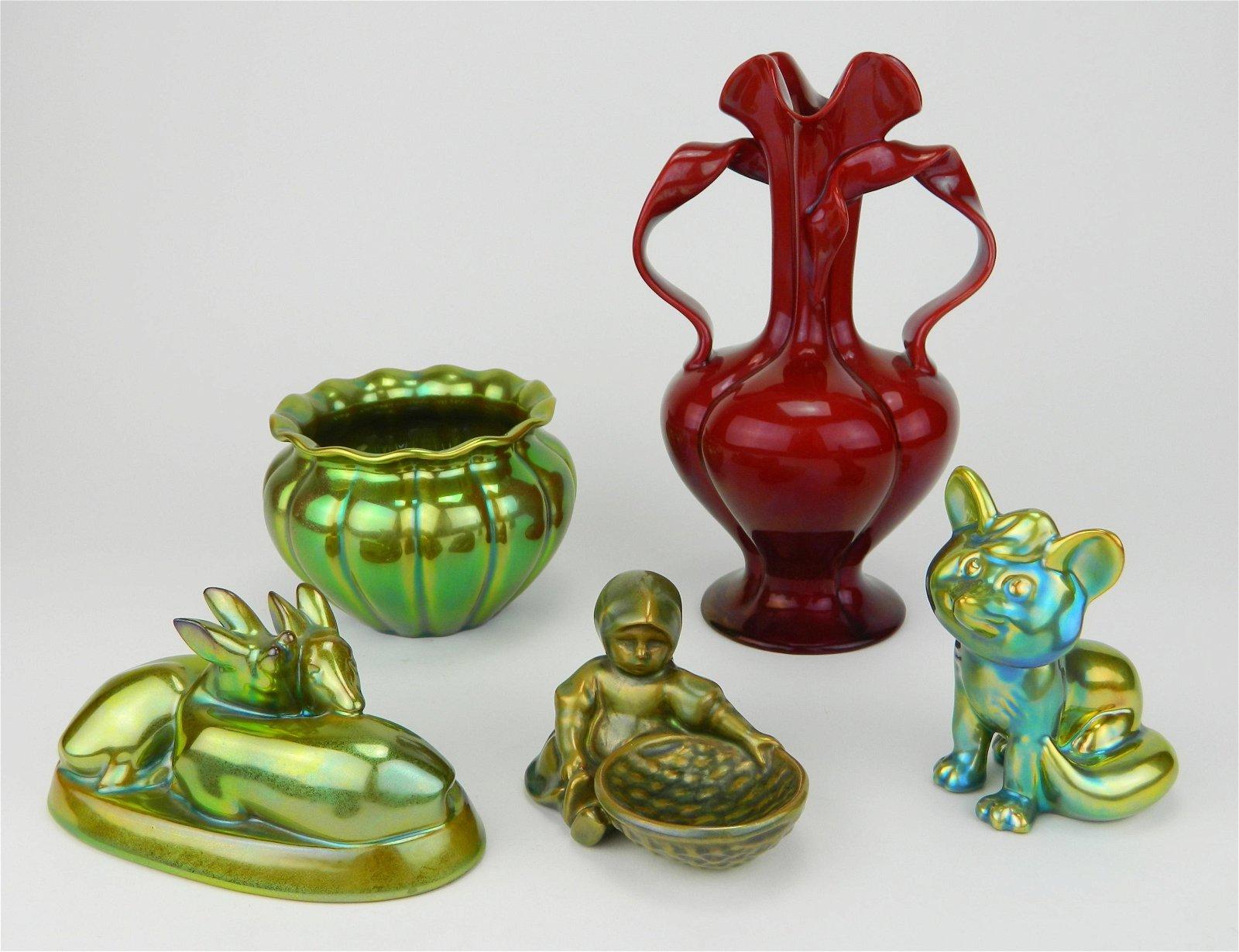 5 Zsolnay Iridescent Porcelain pieces