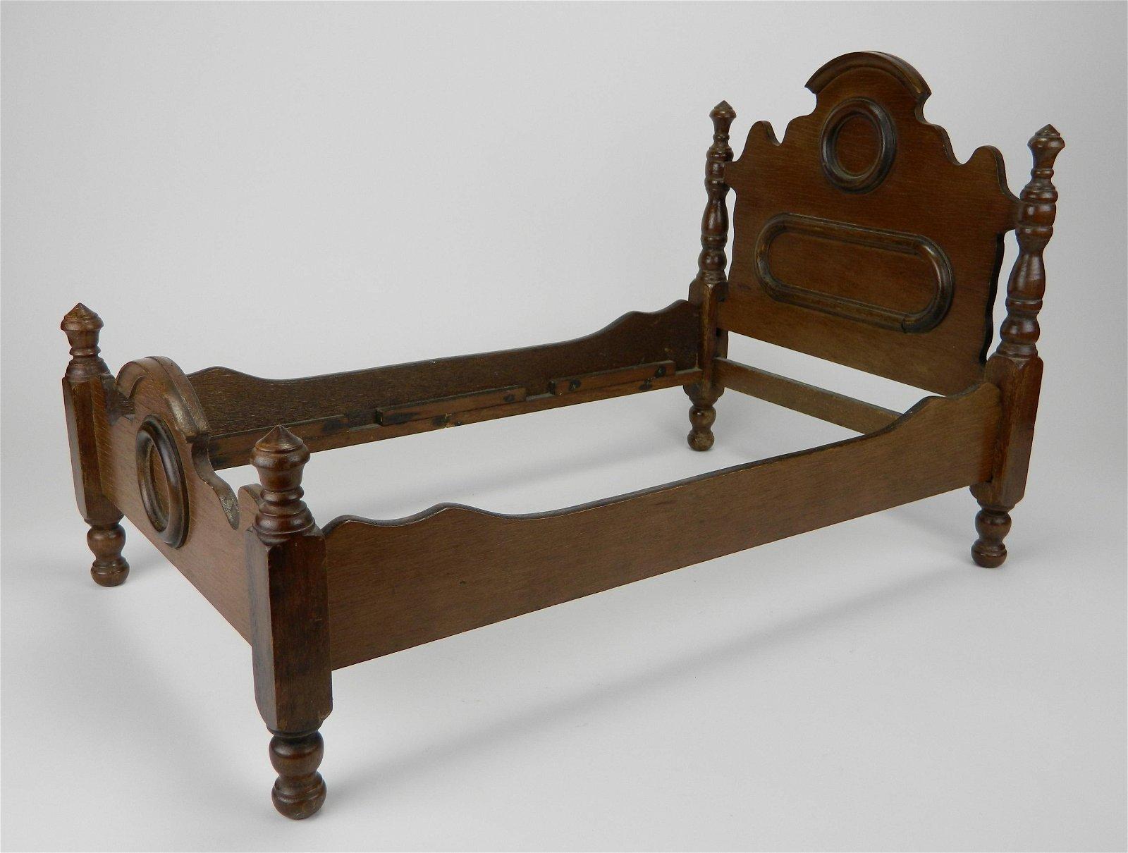 Victorian walnut doll bed
